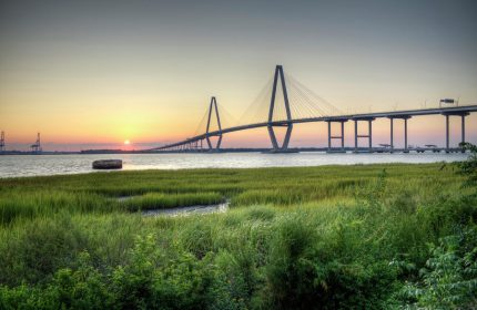 ravenal bridge at sunset